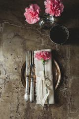 Place setting with carnation