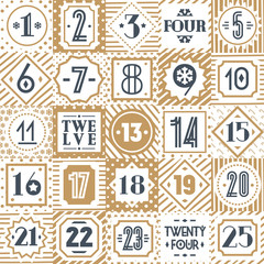 Christmas countdown printable tags collection gold style different background consisting of christmas tree, snowflake, star, candy, checkered background, circle. Vector Illustration