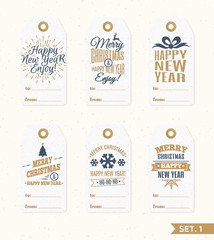 Christmas tags and labels set elements vector gold color with deer, snowflake, gift on holiday background. Christmas emblem. Happy New Year. Christmas decoration element.