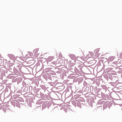 Vector seamless decorative floral horizontal border.