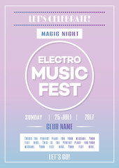 Electro music fest poster template for party with color gradient simple style background. Vector Illustration