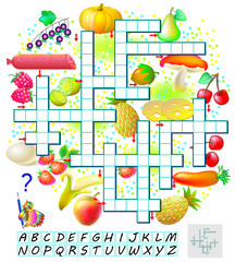 Crossword puzzle game with food. Educational page for children for study English words. Vector cartoon image.