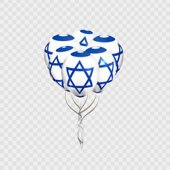 Vector realistic isolated balloons with Israel flag for decoration and covering on the transparent background. Concept of Happy Shana Nova and Independence Day.