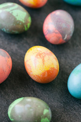 Easter: Marbled Eggs In A Variety Of Colors