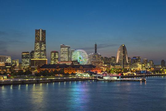 Yokohama, Japan - City Skyline at Night