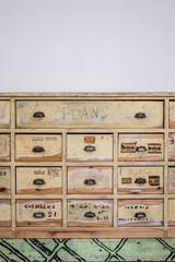 Vintage industrial storage drawers used as furniture