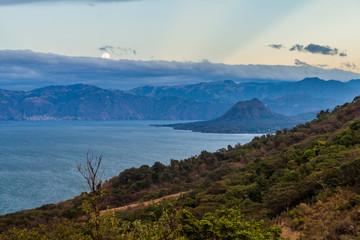 View of Atitlan lake and Cerro de Oro volcano, Guatemala