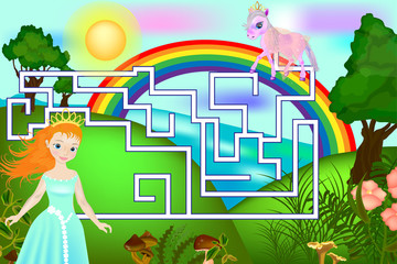 Maze with pony and princess. Board game