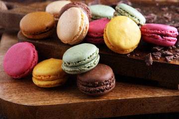 Aluminium Prints Macarons Close up colorful macarons dessert with vintage pastel tones