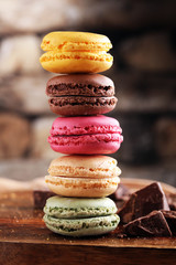 Foto auf Leinwand Macarons Close up colorful macarons dessert with vintage pastel tones