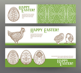 Set of postcard or banner for Happy Easter Day with eggs and hen