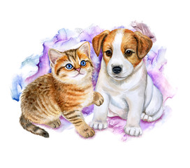 British kitten and puppy jack Russel on a colored background. Watercolor. Illustration. Template. Toys