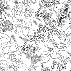 Roses. Seamless Pattern. Stock line vector illustrator.
