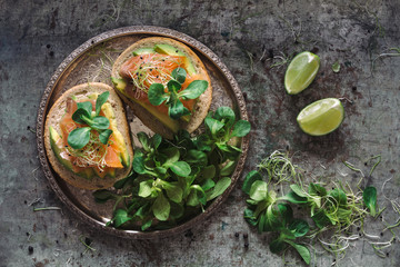 Salmon and avocado sandwiches