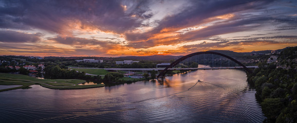 Pennybacker Bridge in Austin, Texas during sunset