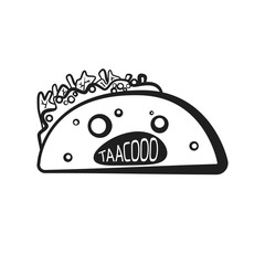 Outline halloween spooky taco character. Cartoon black linear mexican tacos symbol for holiday fast food restaurant or cafe menu, advertisement, banner, web design