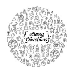 Vector cover with hand drawn symbols of happy new year. Illustration on the theme of Merry Christmas