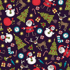 Vector seamless pattern with isolated colored hand drawn symbols of happy new year. Pattern on the theme of Merry Christmas