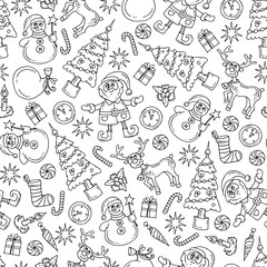 Vector seamless pattern with isolated hand drawn symbols of happy new year on white color. Pattern on the theme of Merry Christmas
