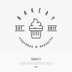 Bakery logo with thin line icon of cupcake. Modern vector illustration.