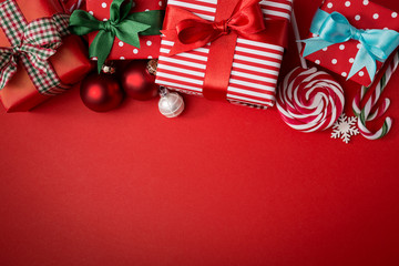 Creative composition of sweets and presents
