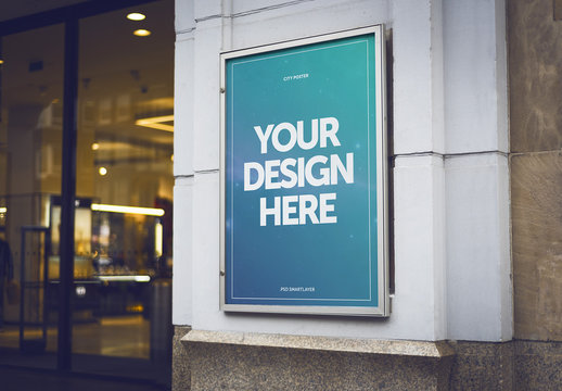 Outdoor Poster on Building Exterior Mockup 1