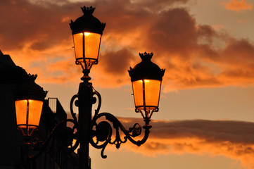 sunset with lamppost
