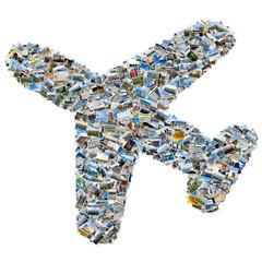 Photo collage of travel photos - mosaic airplane