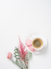 Social media flat lay with coffee, flowers and smartphone