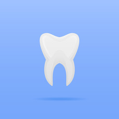 Tooth icon isolated on blue background. Vector illustration.