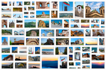 Travel photos collage with images from Bulgaria
