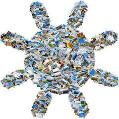 Photo collage of travel photos - mosaic sun