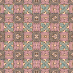 Seamless striped vector pattern. Vintage colored decorative repainting background with tribal and ethnic motifs. Abstract geometric roughly hatched shapes colored with hand drawn brush stokes.