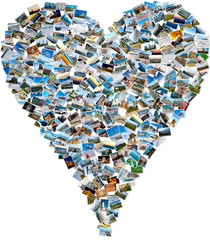 Photo collage of travel photos - mosaic heart