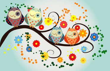 Four owls, on a fantastic tree branch, decorated with flowers.