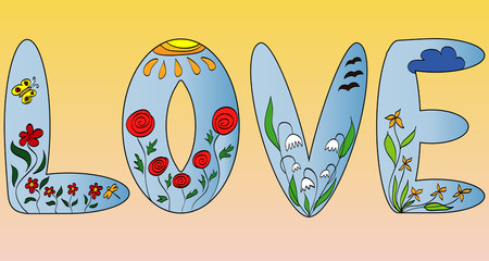 Love. The word is illustrated with flowers, flower letters