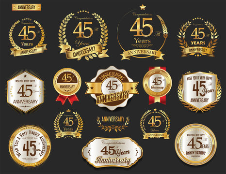 Anniversary golden laurel wreath and badges 45 years vector collection