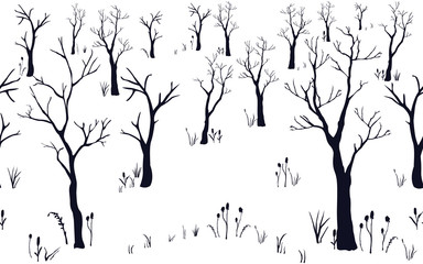 Seamless Pattern of Forest with no leaves. Set of Black Trees. Silhouette Texture. Hand Drawn Design. Vector Illustration.