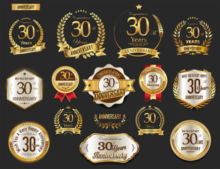 Anniversary golden laurel wreath and badges 30 years vector collection