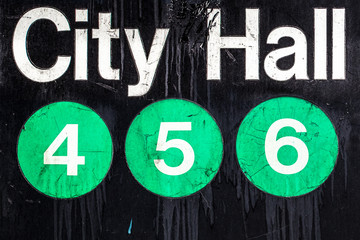 Iconic New York City subway sign with circles