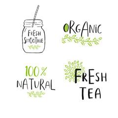 Set of 4 Vector eco, bio green logo or sign. Vegan, raw, healthy