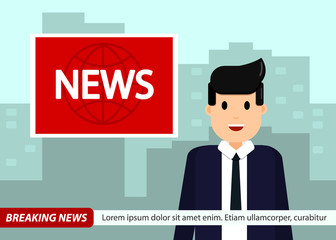 News Anchor on TV Breaking News background. Man in suit and tie. vector illustration in flat design.