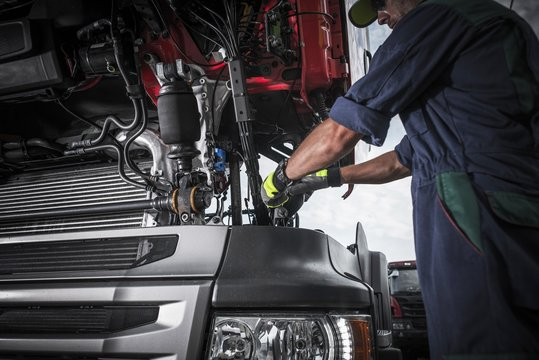 Repairing Broken Semi Truck