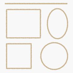Set of rope frame. Vector illustration.