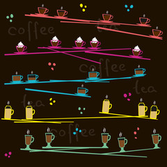 Cups with tea and coffee on a black background