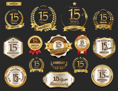Anniversary golden laurel wreath and badges 15 years vector collection