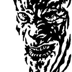 The evil face of the killer maniac watching his victim. Vector illustration.
