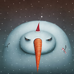 Conceptual illustration or poster , greeting card with  Gloomy Snowman