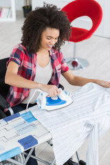 ironing the clothing
