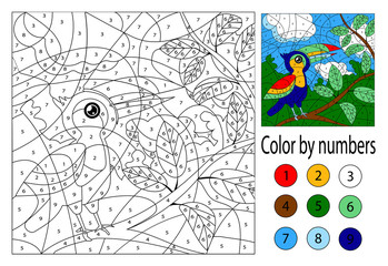 Color by numbers. Education game for smart kids and children. Picture with toucan